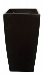 "37"" Fiberglass Square Pot - 20"" Inside Diameter - Gloss Black"