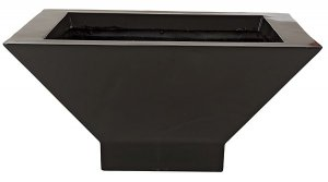 "10.5"" Fiberglass Square Pot - 16.5"" Inside Diameter - Gloss Black"