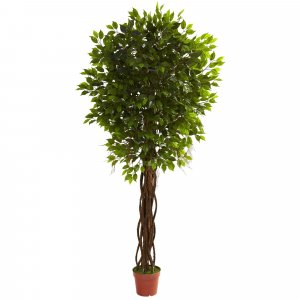 7.5 Foot artificial Outdoor Ficus Tree U.V. Stabilized (resists fading under sunlight). Create your own tropical Oasis!