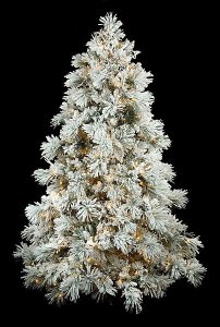 7.5' Heavy Flocked Long Twig Pine Christmas Tree - Full Size - Warm White LED