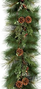 6' Sugar Pine Garland - Red Crab Apples and Pine Cones - 57 Green Tips