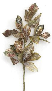 "30"" Glittered Cherry Leaf Spray with Gold Trim - 41 Leaves"