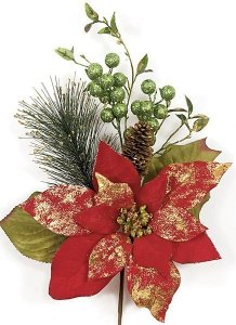 "P-101240 16"" x 10"" Velvet Poinsettia and Berry Pick"