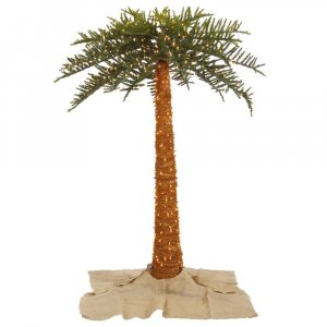 EFV-16936  6' Outdoor Royal Palm Artificial Tree featuring 674 PVC tips and 500 Warm White Dura-lit LED Italian Style lights.