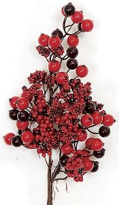 "17"" Styrofoam Mixed Berry Pick - Large and Small Berry Clusters"