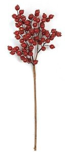 "25"" Styrofoam Crackled Glitter Berry Branch - Red/Gold - 14"" Stem"