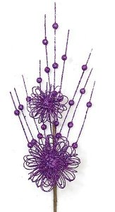 "19"" Plastic Glittered Ball Spray - Purple - 5.5"" Stem"