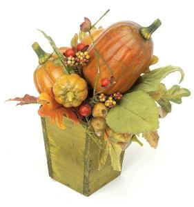 Small Pumpkin Arrangement in wood planter