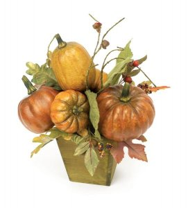 Pumpkin Arrangement in wood planter