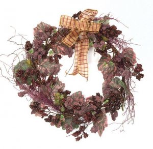 Berry Cluster Wreath with Twigs,Leaves,&Bow