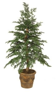 W-1889 Custom Plastic Hemlock Tree on natural wood Trunk- small pine cones 2.5' - 3' Wide Indoor/Outdoor