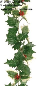 "EF-61  5' Holly Garland 2"" Holly Leaves, Red Poly Berries. Color: Variegated Green/Green (Sold in a 12 pc set)"