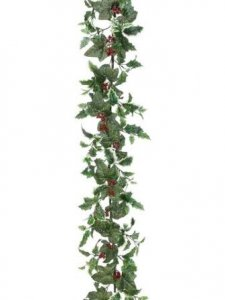 EF-033 6' Icy Holly/Ivy Garland  Green Variegated  (Price is for a set of 4 pcs)