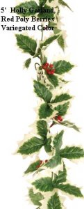 EF-64  5' Holly Garland Variegated Green/White Leaves Red Poly Berries (Sold in a set of 12 PC)