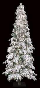 Flocked Carolina Pine Christmas Tree - Slim Size - 886 Tips - 400 Clear Lights