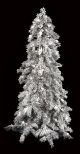 4' Flocked Carolina Pine Tree with lights