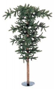 "7.5' Umbrella Pine Christmas Tree - 570 Green Tips - 66"" Top Width - Metal Base"