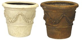 DB-2040 Fiberglass pot with garland motif cream & brown colors available