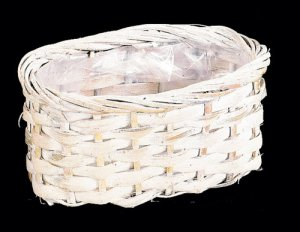 Rattan Planter With Plastic Liner white wash Oval