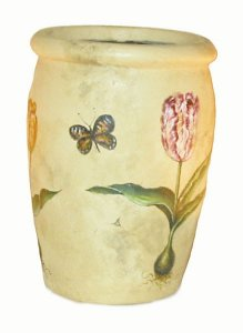 "9 "" Hand Painted Flower Planter --Fiberglass -antique cream"