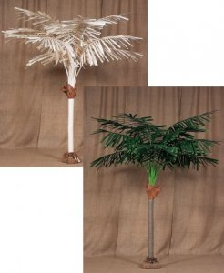 9' or 12' Tall Canvas Feather Palm in Natural or Green