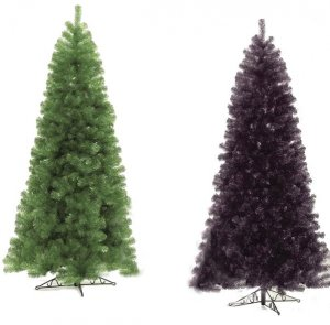 C-1332 7.5' Colored Tinsel Trees Lime Green & Black colors available