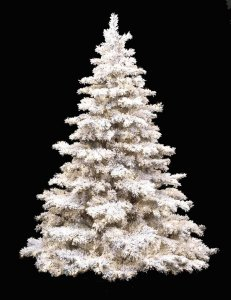7.5' & 10' White Flocked Pine Christmas Tree with Glitter Pre Lit