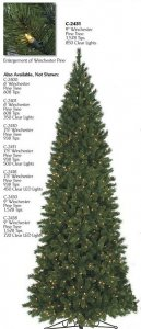 C-2400 6' Tall-9' Tall Winchester Pencil Christmas Tree With REG/ LED Lights or Without lights