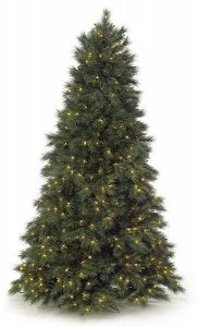 "7.5' Weeping Mixed Pine Christmas Tree Slim  1,209 Tips  600 Clear Lights 57"" Width Wire Stand  Blue/Green"