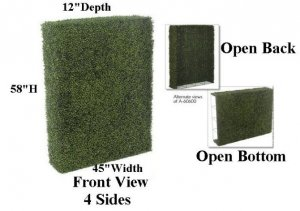"Faux Life Like Plastic Boxwood Fence - 58"" Height - 45"" Wide - 12"" Depth Green"
