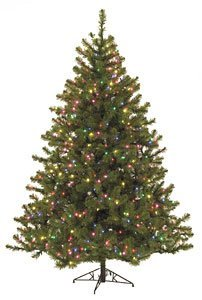 C-84702 7.5' & 9'  Virginia Pine Christmas Tree with Multi Colored Lights