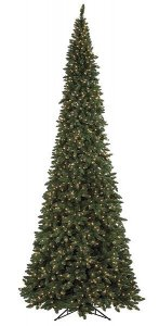 12' Pencil Pointed Spruce Christmas Tree with lights