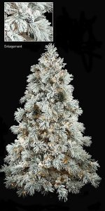 C-70421 Pre-lit 7.5' & 9' Tall Heavy Flocked Long Twig Pine Christmas Tree Tree with pine cones