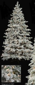 Pre-Lit 7.5' Medium Flocked Pagoda Fir Christmas Tree
