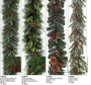 6'Plastic White Spruce/ PVC Mixed Pine with Bay Leaf, Juniper Berries, Incense Cedar, Cones/PVC Mixed Austrian & Sugar Pine/Australian Pine - Berries/Pine Cones Christmas Garlands