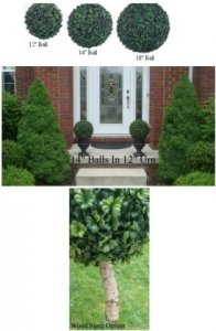 "A-78012 Select From 12"", 14"", 18"" & 25"" Outdoor Fade Resistant Life Like Boxwood Balls (Custom Made)"