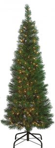 6' & 9' Christmas Pencil Pine Tree With Lights