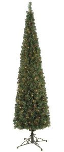 7.5' & 9'  Charleston Pencil Pine Christmas Tree with multi colored lights