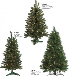 3' Pre Lit Christmas Fir , Pre Lit Spruce Tree & 4' Scotch Pine with lights