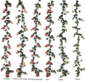 Fade Resistant All Weather Plastic  Outdoor Bougainvillea Garlands comes in 6 different colors to choose from!