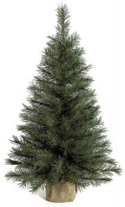 "3' Pine Christmas Tree - 106 Green Tips - 19"" Width - Brown Burlap Bag Base"