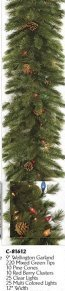 9' Wellington Christmas Garland with cones, berries, clear & multicolored lights