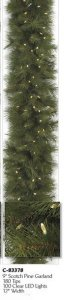 9' Pre Lit LED Lights Scotch Pine Christmas Garland