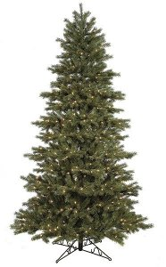 "C-70221  7.5' **Natural Real Touch** Concolor Fir Tree 50"" wide With 1,755 Plastic & PVC Tips 500 Clear Lights"