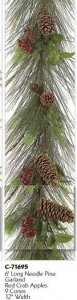 6' Long Needle Pine Garland Red Crab Apples 9 Cones