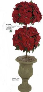 4' Double Christmas Poinsettia Topiary
