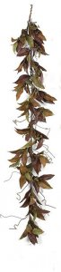 P-70365 6' Magnolia Leaf Garland - Mixed Brown