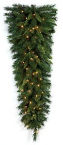 "48"" Mixed Pine Teardrop - 187 Mixed Green Tips - 70 Clear Lights"