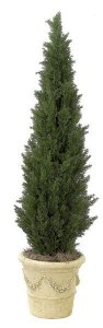 5' Plastic Outdoor Cedar Pine Tree - Synthetic Trunk - Green - Weighted Base
