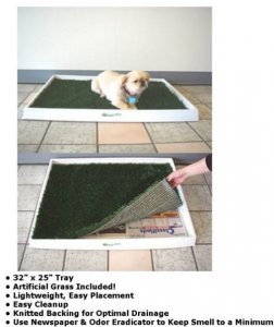 "EF-1999 32"" x 25"" Tray Dog Litter Box with grass mat is perfect for dogs"